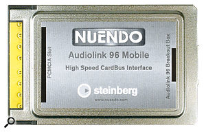 RME's PCMCIA card-based Hammerfall DSP recording system, shown here with its breakout box in its Steinberg Audiolink livery (it is also available from RME under their name).