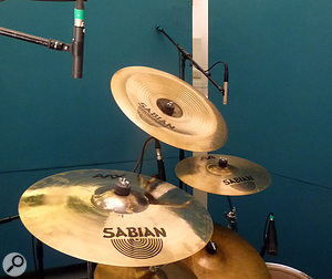 5. The nearest Neumann KM184 is used for paired cymbal miking, positioned to ensure that the nearest crash and large china next to it are as evenly balanced as possible. The furthest crash cymbal has been allocated an individual cymbal mic.