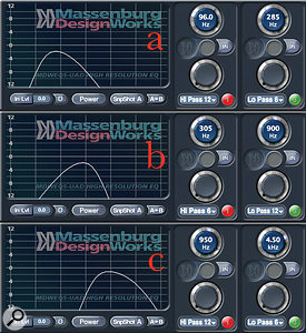 In addition to a distorted signal, bracketed to focus on the mids, the bass sound consisted of three tracks: one DI, restricted to the sound's low frequencies (a); a Line 6 Helix-modelled track focused on the low‐mids (b); and another DI for the highs (c).
