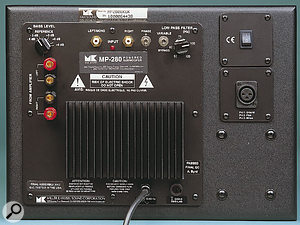 The rear panel of the CR480 powered subwoofer — although the model number shown here is MP280, this has now been changed for all new units to CR480. A choice of inputs and setup facilities allows the subwoofer to be used directly in 2.1 systems, or with a bass management controller in more complex surround configurations.