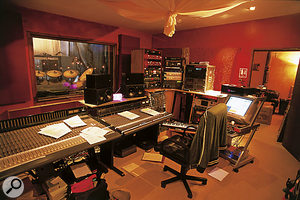 The control room at Racket Club Studios.