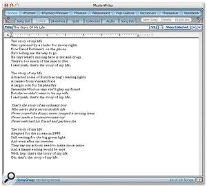 The Lyrics editor is a basic word processor.