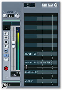 This buss in Steinberg's Cubase SX is dedicated to mastering effects. As shown in the routing view of the inserts, the EQ1 equaliser plug-in goes before the L1 limiter; after the fader (shown in white) comes the Double Delay and the UV22HR dithering plug-in. This means that the level control won't cut off the reverb tail or interfere with the dithering.