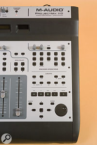 As is the case with most control surfaces, many of the buttons take on different functions in different applications, but the labelling seems to be based primarily on Pro Tools. For instance, the five Aux buttons allow you to set the levels of sends 1 to 5 in Pro Tools, but work differently in Cubase.