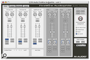 The Firewire Audiophile's driver software under Mac OS X. The unit's Assignable Level Controller can be switched to control four different signal levels (right).