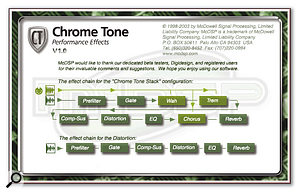 The signal routing for the Chrome Stack (top) and Chrome Amp plug-ins.