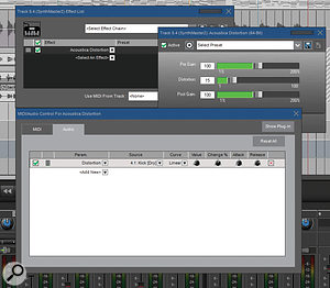 The new Audio Control system allows you to modulate almost any instrument or effect parameter based upon any audio source. Here a kick drum is modulating the distortion level applied to a synth sound.