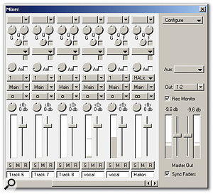 The Mixer window doesn't look terribly inspiring, but it offers support for plug-in effects and instruments, as with Halion shown here.