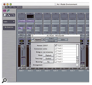 Melodyne Bridge allows easy integration of Melodyne with your sequencer. It appears as a plug-in (shown here in Logic 6) which sends an output into Melodyne to be recorded, or streams Melodyne's output back into Logic.