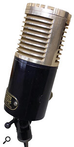 Some vintage mics were constructed with both a fig‑8 ribbon and an omnidirectional moving‑coil capsule: by blending the output of each one, different polar patterns were created. Here are pictured two such mics: an American DR332 (above) and the insides of an STC 4033 'ball and biscuit' mic (below).
