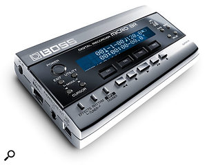 The Micro BR is very sleek and stylish -- almost too stylish to be a piece of recording gear! The display is hidden beneath the semi-reflective, mirror-finish front panel. There are also relatively few buttons, aside from the familiar tape-style transport buttons, the power switch, and four track select buttons.
