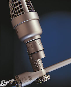 Markings on the ORTF stereo kit's mounting brackets allow precise microphone angles to be achieved easily.