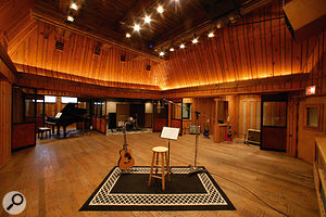 If you're lucky enough to have a great-sounding room at your disposal (this is the live room in New York's Power Station's Studio C), you can make the most of its character by capturing it, along with the source signal, via a mic that has an accurate off-axis response.