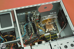 The Akasa Evo 120 CPU cooling system, with its large fan, is becoming a popular choice in PCs where low noise is important.