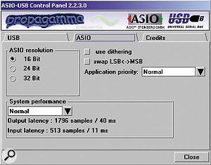 This screenshot shows the ASIO settings for the supplied USB Audio driver.