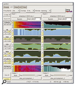 Freq Tweak is a JACK-enabled audio spectrum manipulation tool, which allows you to visualise effects in real time using the display of choice.