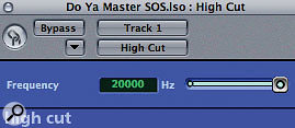 The High Cut filter plug-in in Logic was automated for creative purposes during a drop section in the track, and was also pressed into service to tidy up residual noise at the end of the track.