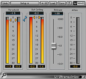Dynamics processing used on the main mix buss comprised SSL Duende's Stereo Bus Compressor (top) and Waves L1 Ultramaximizer.