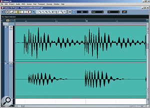 Here you can see the original waveforms of the two different kick-drum samples. It's clear that they are drifting in and out of phase with each other. The resulting phase cancellation made it impossible to arrive at a consistent sound, so Mike had to edit them back into phase before processing.