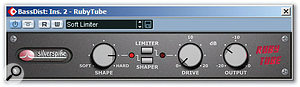 Some emulated tube distortion from Silverspike's Ruby Tube plug-in, high-pass filtered at 176Hz, helped to bring the bass part's mid-range further forward and saved having to EQ the bass track itself.