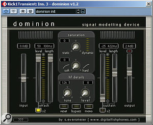 The low-end punch of one of the two kick-drum samples was improved with a low-pass-filtered Digital Fishphones Dominion send effect.