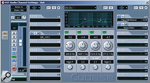 EQ and a very short SIR reverb were used to adjust the hi-hat sample's tonality, while two send effects widened the stereo picture, the first a chain of MDA's Detune and Cubase's internal Double Delay, and the second a chain of Cubase's Mod Delay and GVST's GStereo.