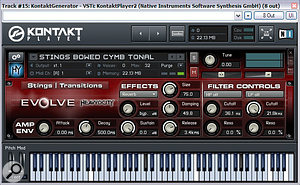 Mike added some subtle atmostpheric elements from Heavyocity's Evolve Kontakt Instrument to give the mix a bit more background complexity and stereo interest. Here you can see one of the patches he used: the evocative sound of bowed cymbals.