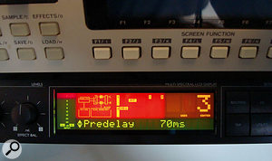 Increasing the pre-delay on the TC Electronic M-One's reverb patch helped to create enough separation between the original sounds and the long reverb.