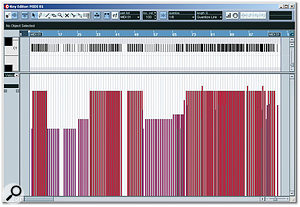 This screenshot from Cubase SX 2's Key Editor shows the MIDI notes which triggered the replacement kick-drum sample in the remix. Notice that the note velocities (and hence the sample's volume) have been edited to mimic the changes in the drummer's playing during the song's different sections.