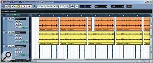 A pair of drum loops laid the rhythmic foundation for the two verses, but neither could supply a solid kick-drum sound. This was remedied by filtering off the low end of both loops and then copying a single hit from the main kit's kick-drum close mic to recreate the part.