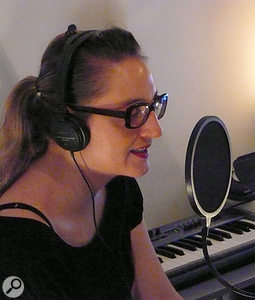 Vocalist, and one half of column:inches, Tina Norden during a recording session.