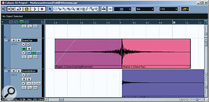 The single isolated snare hit after the first chorus was made more dramatic using a reversed copy of it as a build-up: though a simple trick, this can be very effective.