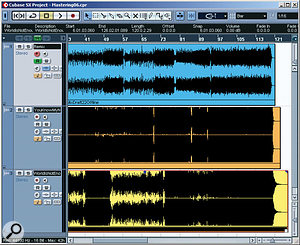 Here you can see the audio waveform of Mike's normalised (but unmastered) mixdown alongside two of Wilx's reference tracks. It should be pretty obvious that the reference tracks have been mastered very loud indeed, and in order to check how his mix measured up against the reference tracks, Mike had to simulate something like this kind of mastering sound for his mix.