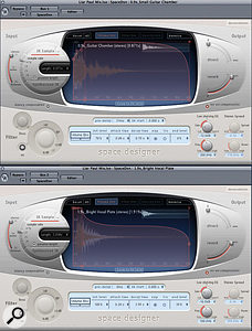 Send effects: note the reduced early reflections for the guitar reverb (top) compared with that for the vocal (bottom). A stereo delay also helped to make the vocal more lush in the chorus.