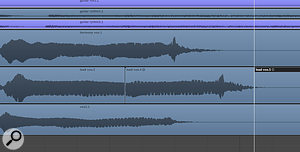 Getting the timing of aperformance right is every bit as important as hitting the correct pitch. Paul took great care to edit the ending of the backing vocal parts so that they were nice and tight with the lead vocal.