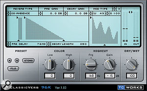 Three different reverbs were used in the final mix. A Space Designer drum-room convolution patch was applied to the drums submix to give more of a live sound, while Universal Audio Plate 140 and TC Electronic Classicverb plug-ins provided more traditional plate and ambience treatments which were used more generally across the whole mix.