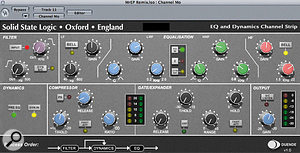 The raw sax recording sounded rather thin, but some EQ and compression from SSL Duende's Channel Strip plug-in set things straight.