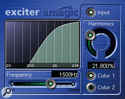 A combination of distortion and psychoacoustic enhancement, courtesy of Apple Logic's Clip Distortion and Exciter plug-ins, was used to transform the dull snare close-mic track into something brighter and more aggressive.