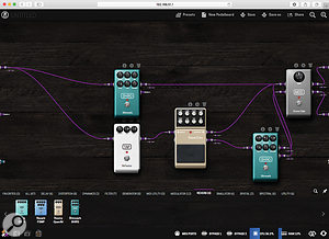 Configuring a  pedalboard in the browser-based editor.