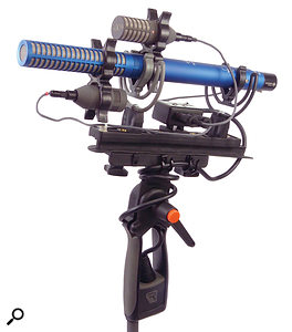 A typical lightweight broadcast Double M-S ('MSM') array, using small-diaphragm Schoeps mics, with an illustration (below) of the polar patterns of the three mics.