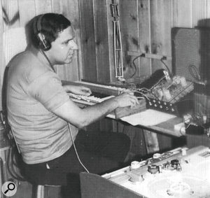 Herb Deutsch working on Bob Moog's prototype synth in 1964. This photo was taken by Moog himself.