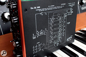 A small nod to genius: the 'ladder' schematic of Robert Moog's original US patent file is printed on the Ladder module.