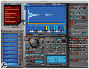 The anatomy of MachFive 2. At the top, from left to right, are the File Manager, Display Area, and Master/Part/Layer parameters. In the lower half are the Part List, Keygroup settings (synth parameters) section and FX slots. Various alternative views and translucent overlays are used to provide enhanced functionality.
