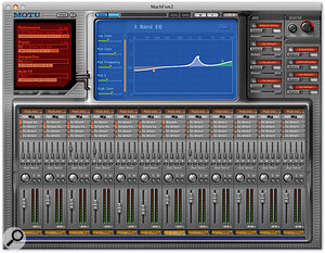 The Mixer view replaces the usual main window interface but still gives access to a range of editing features.