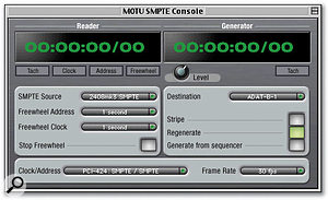 The screen shot shows SMPTE Console settings that make the PCI-424 card resolve to SMPTE timecode (the clock/address setting). The left-hand side of the Console (the 'Reader') shows the input source as the RCA jack on the back of the 2408 that doubles as a S/PDIF input. With this setting the input is switched to an analogue timecode circuit. The right-hand side of the Console (the 'Generator') shows settings made in order to stripe the first track of an ADAT machine connected to output bank B with SMPTE timecode.