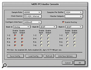 The settings available in this control panel are directly accessed in Audiodesk and Digital Performer's Configure Hardware Driver window.