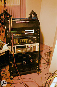 Although they do use synths such as their Oberheim Matrix 1000 and Matrix 6, Mouse On Mars make greater use of samplers such as the Akai S1100.