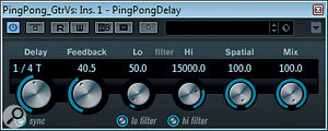 Many different delays were used in this month's remix to add depth and variety to the soundscape: Cubase's Ping Pong Delay added stereo rhythmic interest to the main verse guitar; Lexicon's Dual Delay provided an opposition-panned slapback for the chorus guitars; Cubase's Stereo Delay gave the guitar solo its own stereo-widened, tempo-sync'ed echoes; and Fabfilter's Timeless 2 generated a  softly modulated panning tempo-delay for the lead vocals.