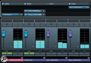 This screenshot of the Cubase mixer window shows the send routing for the remix's two long-decay vocal effects. Channel 52 carries the processed dry vocal signal and a  send from that feeds channel 58, which is heavily de-essed. The de-essed channel then feeds channel 60 (a long reverb) and channel 61 (a long delay), the latter sending some of its delay repeats back to the reverb.