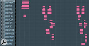 Here's the Cubase arrange-window view of the remix's backing-vocal arrangement, which illustrates how the number and complexity of the vocal layers increases from chorus to chorus.